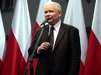 Jarosław Kaczyński - Jaroslaw Kaczynski speaking at third anniversary of the state funeral of his brother Lech Kaczyński