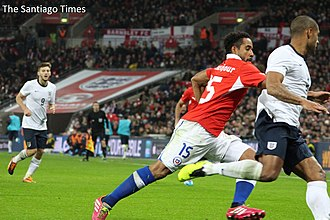 Jean Beausejour - Beausejour in a friendly match against England at Wembley Stadium in November 2013.