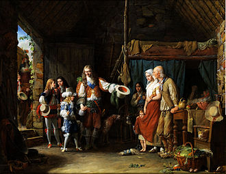 Jean-François Garneray - The Grand Dauphin visits a hut, led by the Duc de Montausier.