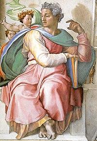 79a92d722 يعتقد المسيحيون أن أشعياء أشار إلى مريم والولادة العذرية ليسوع: ها إن  العذراء تحبل وتلد ابنًا.، الجدارية لميكيلانجيلو في كنيسة سيستين، الفاتيكان،  1512 إلى ...