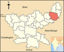 Location of Dumka district in Jharkhand