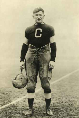 History of American football - Jim Thorpe with the Canton Bulldogs, sometime between 1915–1920, who was one of the greatest players in the history of American football