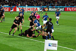 2015 Rugby World Cup Pool C - Image: Johan Deysel try vs New Zealand 2015 RWC