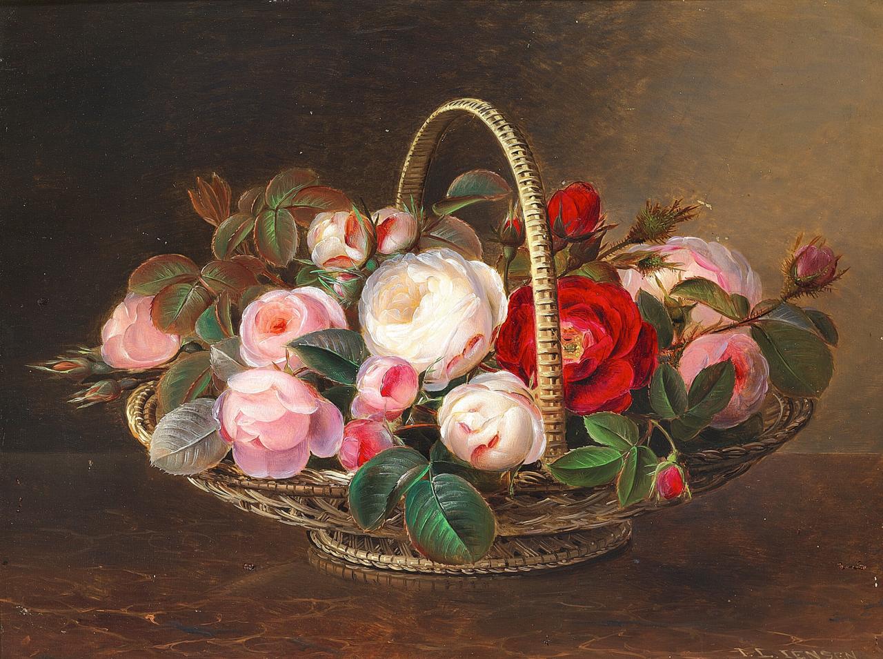 Johan Laurentz Jensen - Lyserøde roser i en kurv.png