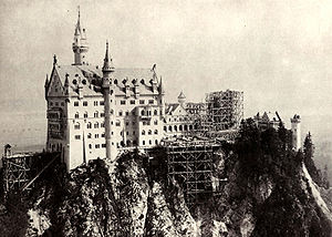 Neuschwanstein Castle - Neuschwanstein under construction: Bower still missing, Rectangular Tower under construction (photograph c. 1882–85)
