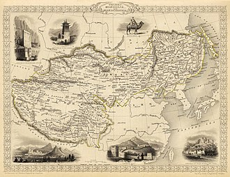 History of Manchuria - 1851 map of Tibet, Mongolia and Manchuria inside Manchurian ruled Chinese Empire. Manchuria is delimited by the Yablonoi range in the north, the Greater Khingan in the west, and the Pacific coast in the east. In the south it is delimited from the Korean peninsula by the Amnok River.