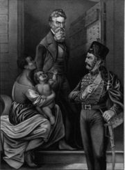 Idealized portrait of Brown being adored by an enslaved mother and child as he walks to his execution.