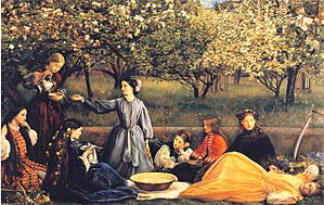 Sophy Gray (Pre-Raphaelite muse) - Millais' Spring (Apple Blossoms), with Sophy on the far left.