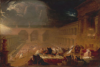Belshazzar's feast - John Martin, Belshazzar's Feast, c. 1821; half-size sketch held by the Yale Center for British Art
