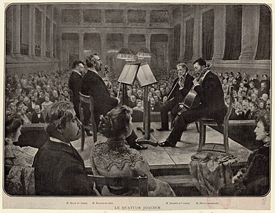 The Joachim Quartet performing in the Sing-Akademie zu Berlin—an engraving based on a painting (currently lost) by Felix Possart, published as a Beilage to the Zeitschrift der Internationalen Musikgesellschaft 4/5 (1903), between pp. 240 and 241. (Source: Wikimedia)