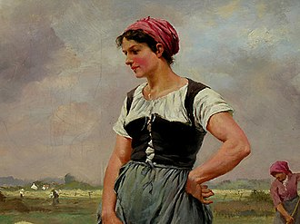 Bodice - Countrywoman's bodice, 19th century (Detail of The Hay-Harvest by Joseph Julien).