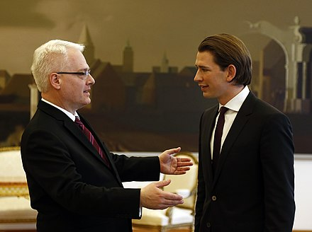 Kurz with President of Croatia Ivo Josipović at his first foreign visit as minister, 20 December 2013