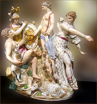 Paris (mythology) - Judgement of Paris, Capodimonte porcelain (Capitoline Museums, Rome)