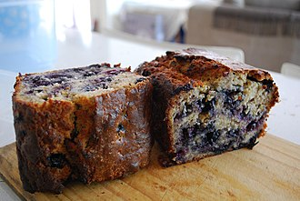 Banana bread - Image: Julia's Banana and Blueberry Cake with walnuts