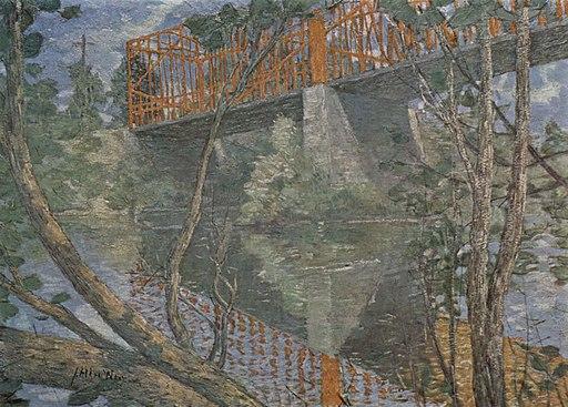 Die rote Brücke by Julian Alden Weir