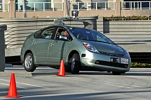 Google driverless car operating on a testi