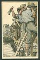 Künstlerpostkarte Walter Georgi 1915 Feldpost Pioniere beim Brückenbau H. Bahlsens Keksfabrik Hannover.jpg