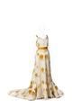 KLÄNNING Av tjock sidenatlas med stofftryckta blombuketter i gult, rött - Hallwylska museet - 89095.tif