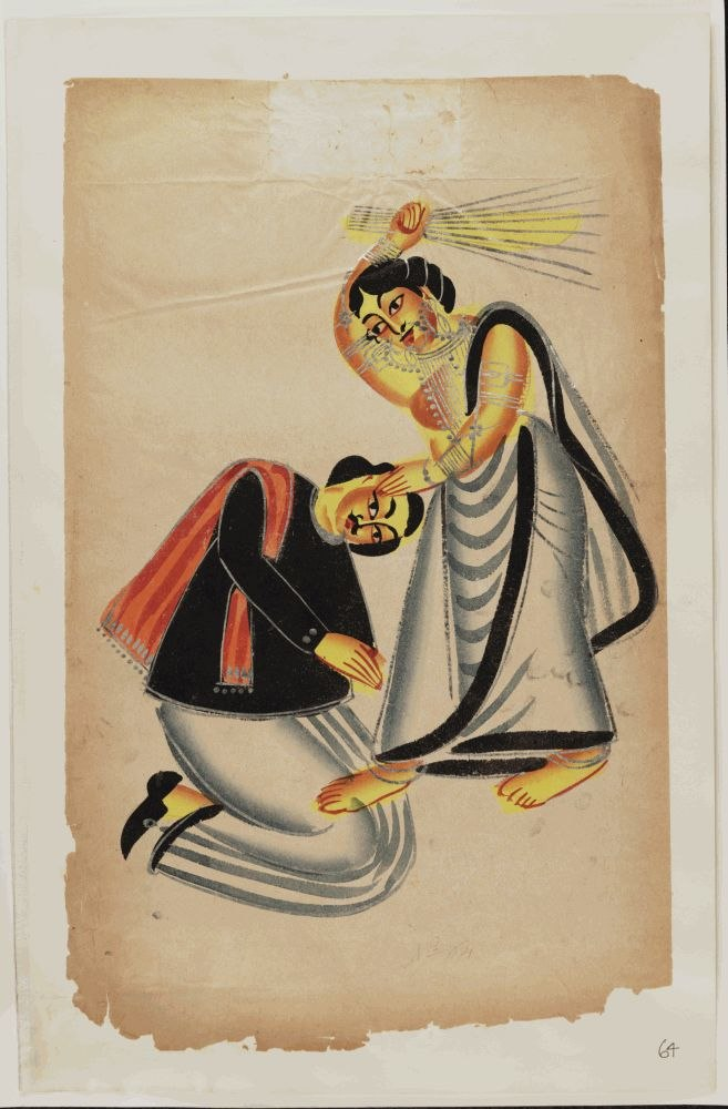 Kalighat Painting Calcutta 19th Century - Woman Striking Man With Broom