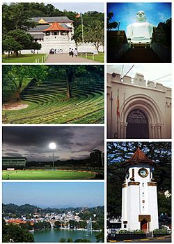 Clockwise frae left tap: Temple o the Tuith, Bahirawakanda Temple, Entrance o Bogambara Prison, Kandy Clock Touer, Kandy Loch, Pallekele Internaitional Cricket Stadium, Sarachchandra Appen-Air Theatre