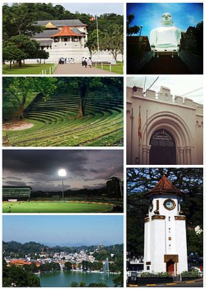 Kandy - Clockwise from left top: Temple of the Tooth, Bahirawakanda Temple, Entrance of Bogambara Prison, Kandy Clock Tower, Kandy Lake, Pallekele International Cricket Stadium, Sarachchandra Open-Air Theatre