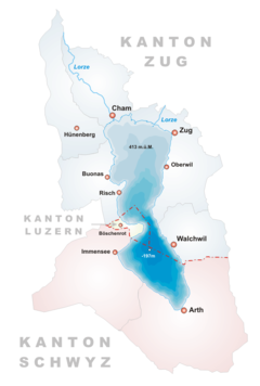 Lake Zug  Zugersee - Map