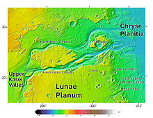 This color-coded elevation map was produced from data collected by Mars Global Surveyor. It shows an area around Northern Kasei Valles, showing relationships among Kasei Valles, Bahram Vallis, Vedra Vallis, Maumee Vallis, and Maja Valles. Map location is in Lunae Palus quadrangle and includes parts of Lunae Planum and Chryse Planitia.