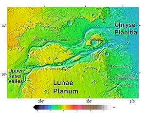Chryse Planitia - Image: Kasei Valles topolabled