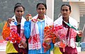 Kavita Raut of India won Gold Medal, N.G. Rajasekara of Sri Lanka won Silver Medal and B.G.L. Anuradhi of Sri Lanka won Bronze Medal in Women's Marathon 42Km Run in Athletics, at the 12th South Asian Games-2016, in Guwahati.jpg