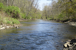 Kayaderosseras - Kayaderosseras Creek looking downstream from US Route 9, April 2012