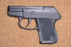 Mousegun example: Kel-Tec P-32 .32 ACP semi-automatic pistol, blued finish