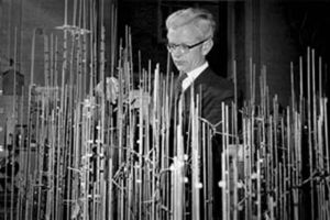 John Kendrew - John Kendrew with model of myoglobin in progress. Copyright by the Laboratory of Molecular Biology in Cambridge, England.