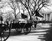 The image ?http://upload.wikimedia.org/wikipedia/commons/thumb/e/ec/Kennedy_funeral_procession_leaves_White_House,_25_November_1963.jpg/180px-Kennedy_funeral_procession_leaves_White_House,_25_November_1963.jpg? cannot be displayed, because it contains errors.