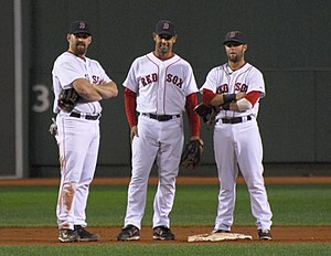 English: Kevin Youkilis(left) , Alex Cora(cent...