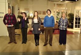 Céline Purcell (midden) met collega's op de set van Kinderen geen bezwaar