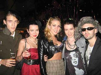 King (pop band) - Lucius, Queenie, Jazzy, Ruby, and Trillion (left to right) at Nobu Matsuhisa in Malibu, Los Angeles