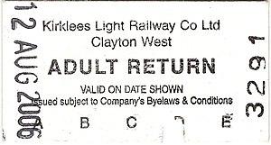Kirklees Light Railway - KLR Adult return ticket