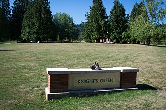 Phil Knight - Knight's Green, a lawn named after Knight at Marylhurst University in Marylhurst, Oregon.