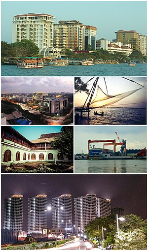 Kochi - Clockwise from top: Marine Drive Skyline, Chinese Fishing Nets at Fort Kochi, Cochin Shipyard, Queen's Way, Hill Palace, InfoPark