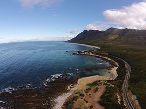 R44 road - An aerial photograph of the R44 with a view of the Kogel Bay Resort is located between Gordon's Bay and Rooi Els in the foreground.
