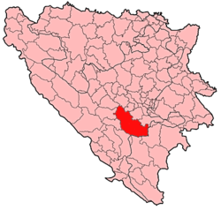 Location of Konjic within Bosnia and Herzegovina.