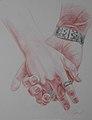 Korzhev Ivan. Lubov. Коржев И. Авторская серия Руки. Любовь, 2008, цветной карандаш, 66х50см.jpg