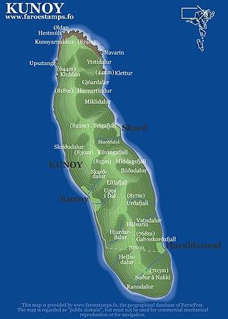 Kunoy - Map of Kunoy