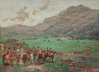 Battle of Piave River (1809) - The French army crossing the Piave in 1809.