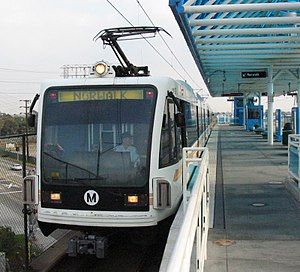 Metro Green Line train at Redondo Beach Station.