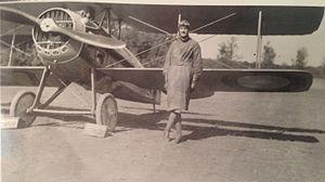213th Aero Squadron - Lt Charles G. Grey next to his Spad XIII
