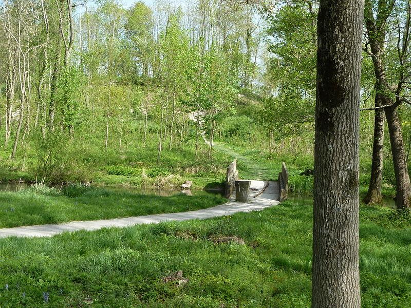 La Cheppe Camp d'Attila - au premier plan, le pont sur la Noblette, et au fond le talus qui entoure le camp. Vue depuis la route D994