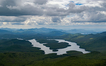 English: Lake Placid from Whiteface mountain top