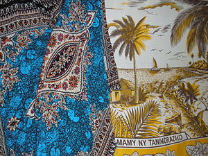 Lamba (garment) - Colorful prints from Asia are popular in coastal towns.