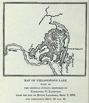 Colter Peak - Image: Langford Yellowstone Lake Map